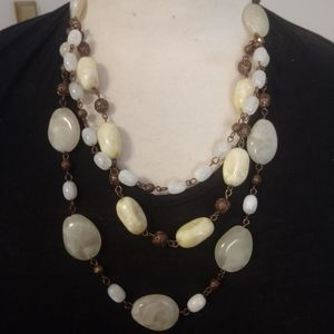 Natural Look Cream Colored Bead Multi Necklace
